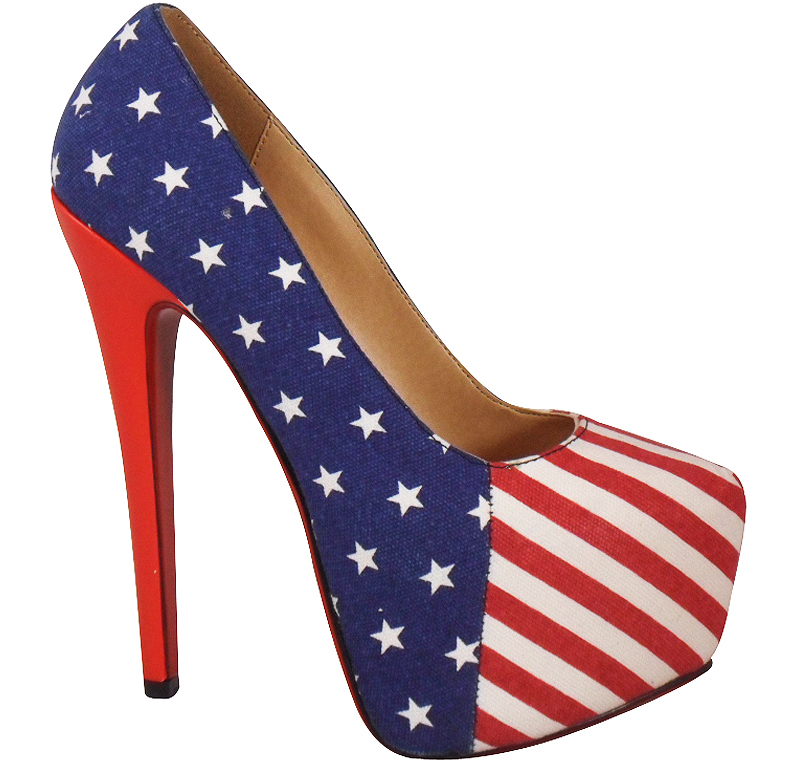 womens american flag platform high stiletto heel